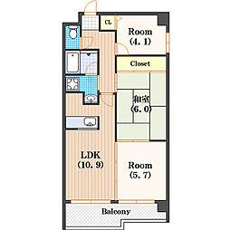 テンフォーティ[4階]の間取り