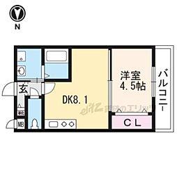 京阪本線 伏見桃山駅 徒歩10分の賃貸マンション 地下1階1DKの間取り