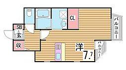 兵庫県神戸市中央区山本通2丁目の賃貸アパートの間取り