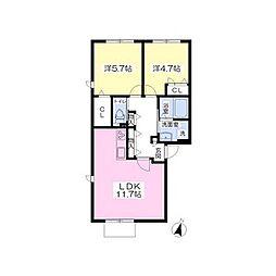 ベルヴィレッジ鴻仏目IIA棟[2階]の間取り