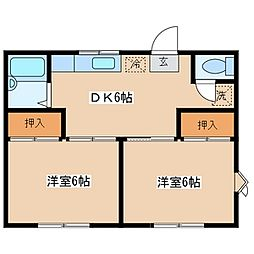 TKハイツ[1階]の間取り