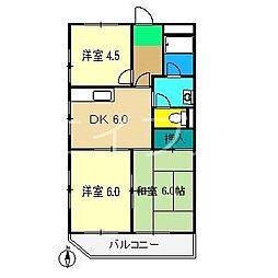 コーポ木ノ城[3階]の間取り