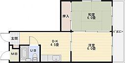 ビューハイム西村[2階]の間取り