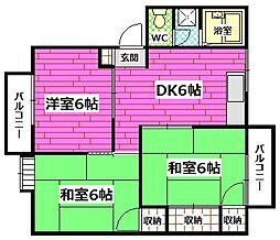 広島県広島市安芸区中野5丁目の賃貸アパートの間取り