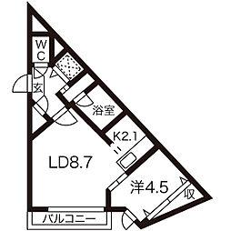 aoakuaN7(アオアクアN7) 5階1LDKの間取り