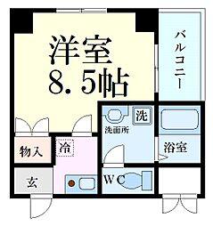 Osaka Metro谷町線 野江内代駅 徒歩3分の賃貸マンション 3階1Kの間取り
