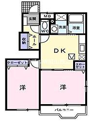 岡山県岡山市南区豊浜町の賃貸アパートの間取り