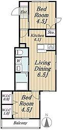 桜新町さざんかハウス 3階2LDKの間取り