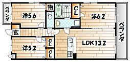 福岡県北九州市八幡西区三ケ森1丁目の賃貸マンションの間取り