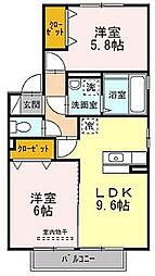 大阪府枚方市招提中町2丁目の賃貸アパートの間取り
