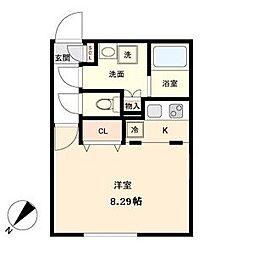 Branche覚王山 3階ワンルームの間取り