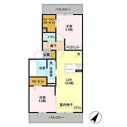 ラ・グラシューズ B[3階]の間取り