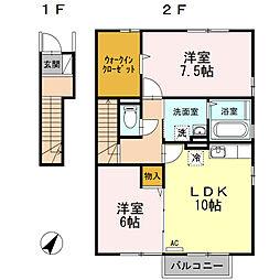 プロシードK B棟[2階]の間取り