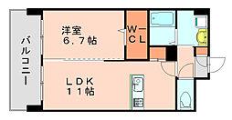 福岡県福岡市博多区東平尾2丁目の賃貸マンションの間取り