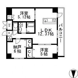 HERITAGE高井田(ヘリテイジ)[506号室号室]の間取り
