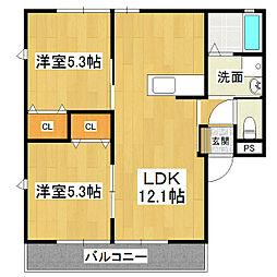 ひたち野ハイムヤマニ[1階]の間取り
