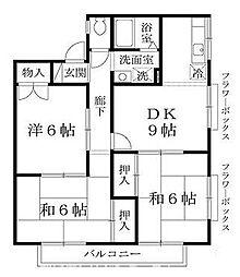 大阪府枚方市岡山手町の賃貸アパートの間取り