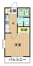 神奈川県川崎市中原区宮内2丁目の賃貸アパートの間取り