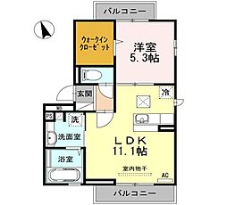 東京都昭島市朝日町3丁目の賃貸アパートの間取り