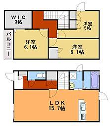 新築 宗像市土穴3丁目アパートB棟[1階]の間取り
