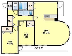 愛知県豊田市三軒町6丁目の賃貸マンションの間取り