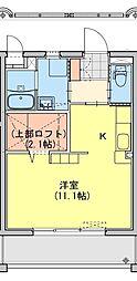 (仮称)都城牟田町マンション南棟 2階ワンルームの間取り