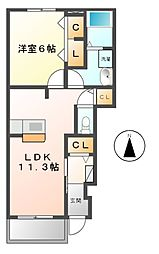 クラージュ E棟[1階]の間取り