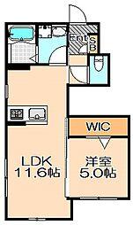 兵庫県神戸市灘区薬師通2丁目の賃貸アパートの間取り