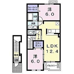 茨城県かすみがうら市稲吉2丁目の賃貸アパートの間取り