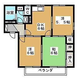 メゾンクレールB棟[2階]の間取り