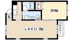 ラパンドゥ 3階1LDKの間取り