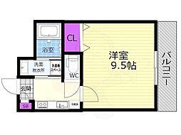 シャルレ14番館 3階1Kの間取り