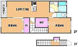 リバーサイド藤田C棟 2階2LDKの間取り