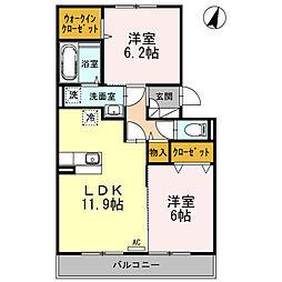 神奈川県海老名市柏ケ谷の賃貸アパートの間取り