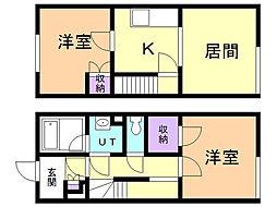 レオネクストMISAKI 1階2DKの間取り