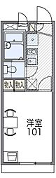 阪急千里線 千里山駅 徒歩10分の賃貸アパート 1階1Kの間取り
