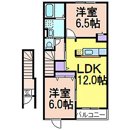 栃木県鹿沼市上石川の賃貸アパートの間取り