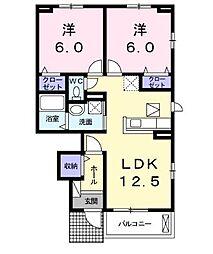ル・グラン矢三II[1階]の間取り