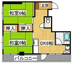 平田第二マンション[301号室]の間取り