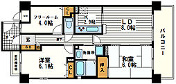 シャルマンフジ・リッツ谷町弐番館[7階]の間取り