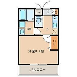 名古屋市営名城線 志賀本通駅 徒歩8分の賃貸マンション 2階1Kの間取り