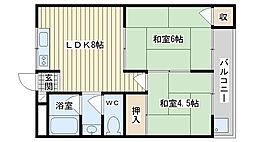 大阪府高槻市富田町5丁目の賃貸マンションの間取り