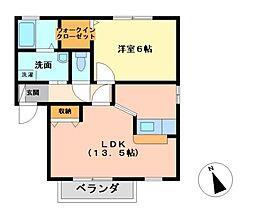ディアクレストC・D[2階]の間取り