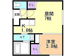 ルビーノ札幌 3階1LDKの間取り