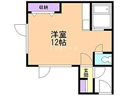 一棟二戸(1−3)柏木邸 1階ワンルームの間取り