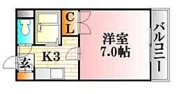 第二山口ビル 2階1Kの間取り