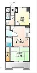 松原メイトマンション[5階]の間取り