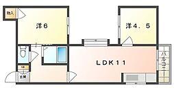 オクモトハウス 2階2LDKの間取り
