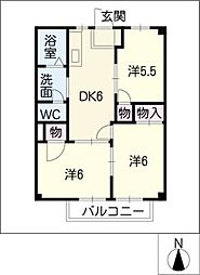 ラ・フォーレ西条A棟[2階]の間取り
