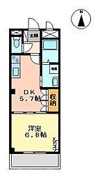 エム・エム・ケー 1階1DKの間取り